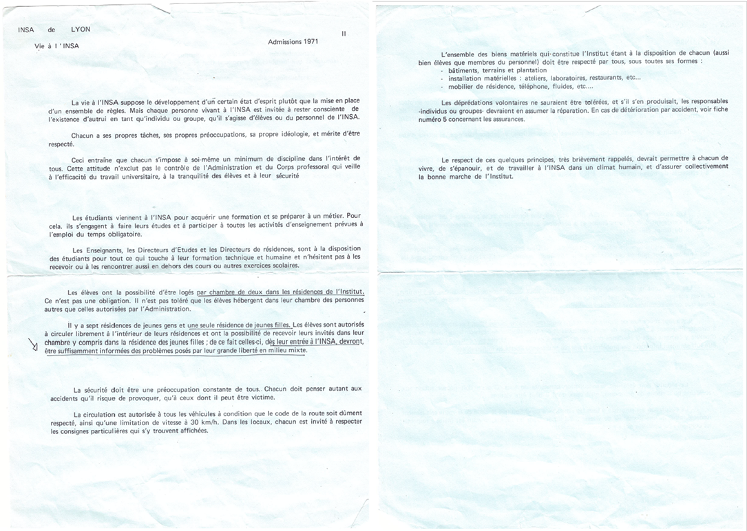 Courrier d'admissions 1971